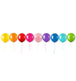 color garland with balloons isolated white vector image