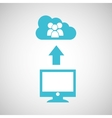 computer connected cloud group chat vector image vector image