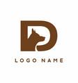 d letter with dog head inside logo vector image