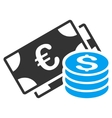 Dollar and Euro Cash Flat Icon vector image