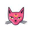 doodle muzzle magic pink cat with moon on vector image