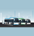 electric buses in a row vector image vector image