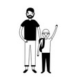 father and son with backpacks vector image vector image