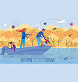 fishing adventures and camping trip with family vector image