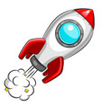 flying white rocket on white background vector image