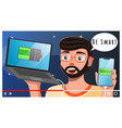 guy makes video about smartphones chargers vector image
