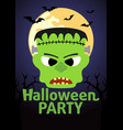 halloween party banner with frankenstein vector image