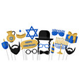 happy hanukkah photo booth props accessories for vector image vector image