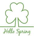 Hello Spring minimal card Shamrock Four leaf