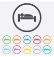 Human in bed icon Rest place Sleeper symbol vector image