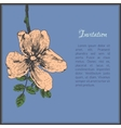 Invitation card template with dog-rose flower vector image vector image