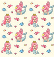 little mermaids with pink hair seamless pattern vector image vector image