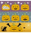 Many pumpkin prepared for Halloween vector image