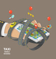 mobile taxi booking flat isometric low poly vector image