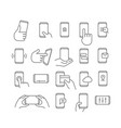 modern smartphones icons linear pictograms vector image