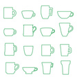 mugs and cups black outline icons set eps10 vector image vector image