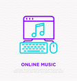 online music icon opened web site on computer vector image vector image