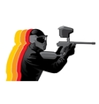 Paintball player in black uniform vector image