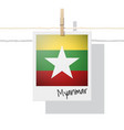 photo of myanmar flag on white background vector image