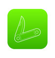 pocket knife icon green vector image vector image