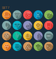 round thin icon with shadow set 7 vector image vector image