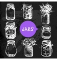 Rustic mason and canning jars hand drawn set vector image