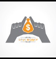 Save money concept - hands protecting bag of money vector image vector image