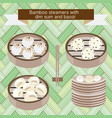 set of bamboo steamers with dim sum and baozi vector image