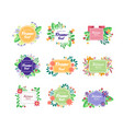 set of colorful floral frames with place for your vector image vector image