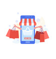 shopping online with website or mobile application vector image