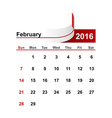 simple calendar 2016 year february month vector image vector image