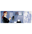 The girl on work at office vector image