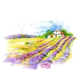 Watercolor rural house in green summer day vector image