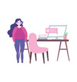 working remotely woman standing in room with desk vector image vector image