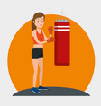 young woman practicing boxing vector image