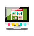 computer with colorful papers and web design on vector image