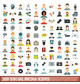 100 social media icons set flat style vector image vector image