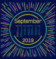 2019 september calendar page in memphis style vector image