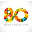80 years anniversary circle colorful logo vector image