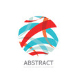 abstract stripes in circle - logo template vector image