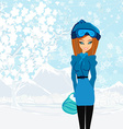 beautiful winter girl vector image vector image