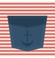 blue pocket with anchor vector image vector image