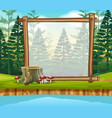 border template with pine forest in background vector image