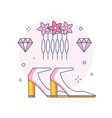 bridal shoes and hair accessories line icon vector image