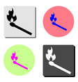 burning match flat icon vector image vector image