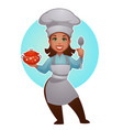 cartoon woman chef proffessional lady for your vector image vector image