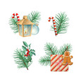 christmas decorations collection vector image vector image