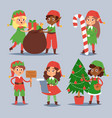 christmas elfs kids children santa claus vector image vector image