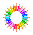 Colorful rainbow pencils in the circle isolated vector image vector image