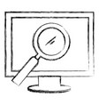computer display with magnifying glass vector image vector image